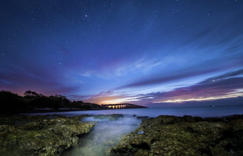 The 7 Mile Bridge of Bahia Honda at twilight.
